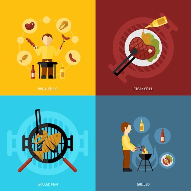 Bbq grill icon flat Vecteur gratuit