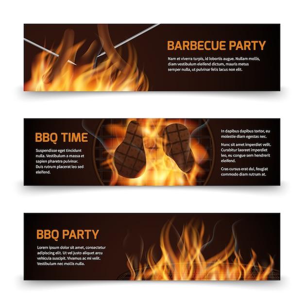 Bbq grill parti bannières vectorielles horizontales Vecteur Premium