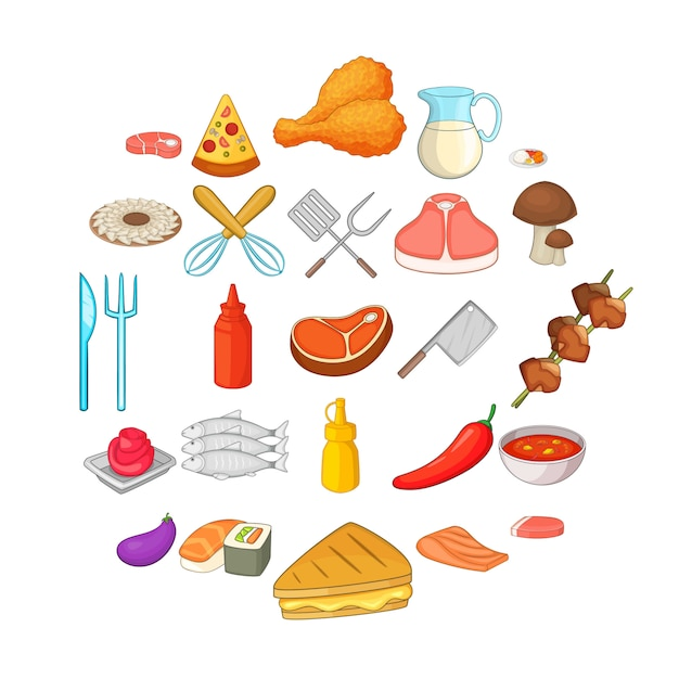 Bbq icônes définies. ensemble de 25 icônes de barbecue pour le web isolé sur blanc Vecteur Premium