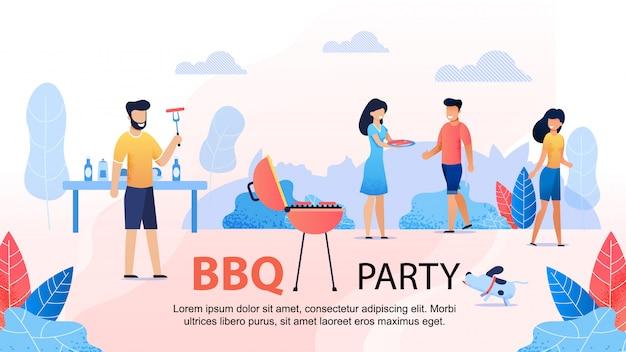 Bbq party with friends bannière de motivation plate Vecteur Premium