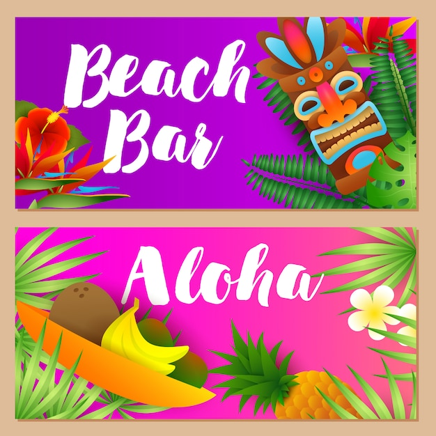 Beach bar, ensemble de lettrages aloha, fruits tropicaux, masque tribal Vecteur gratuit
