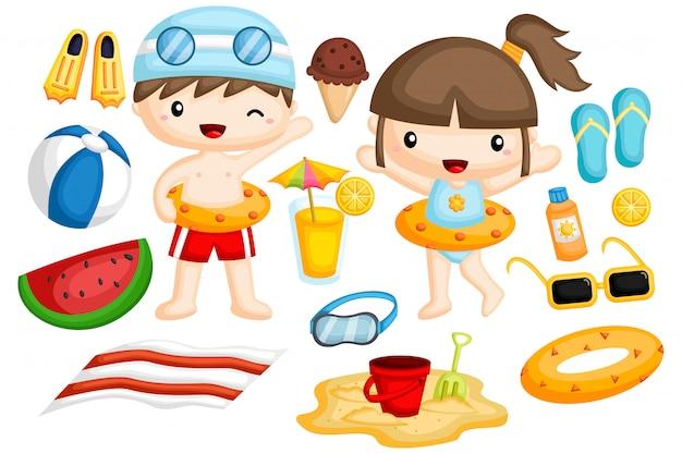 Beach image set Vecteur Premium