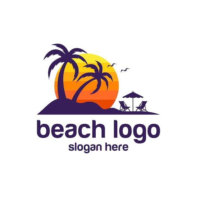 Beach logo vectors Vecteur Premium