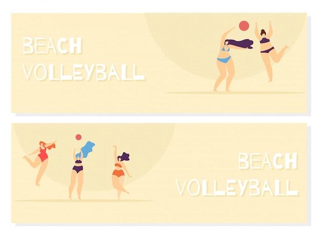 Beach volley jouant femme corps positif. Vecteur Premium