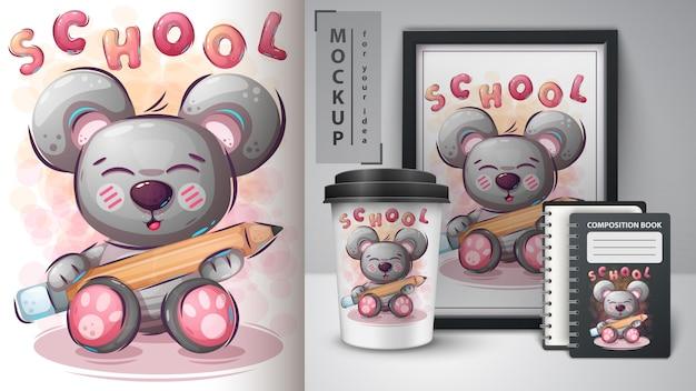Bear adore étudier l'illustration et le merchandising Vecteur Premium