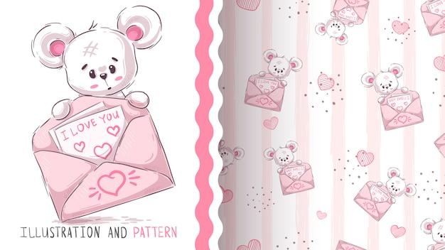 Bear and bear modèle sans couture Vecteur Premium