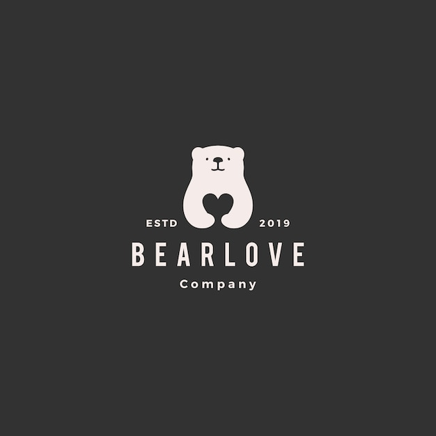 Bear love logo Vecteur Premium