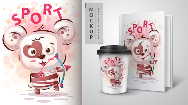 Bear love sportposter et merchandising Vecteur Premium