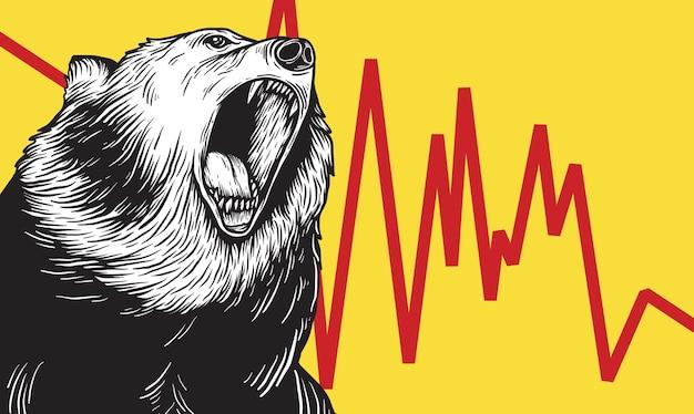 Bear market icon symbole concept de vecteur Vecteur gratuit