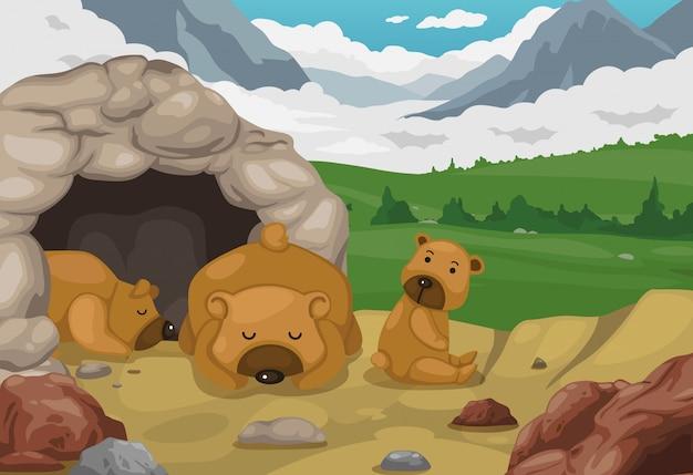 Bear on mountains paysage fond vecteur Vecteur Premium