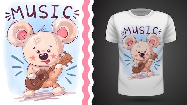 Bear play music - idée d'imprimer un t-shirt Vecteur Premium
