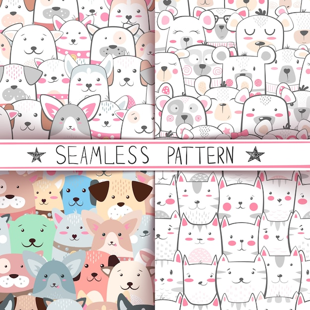 Bear seamless pattern Vecteur Premium