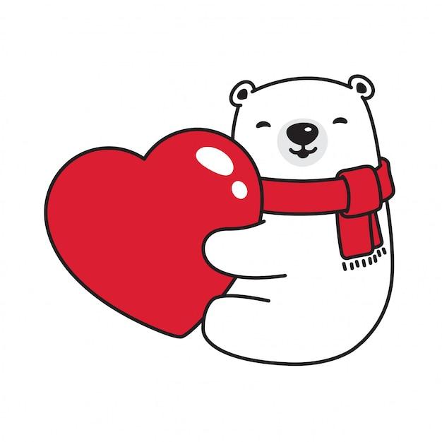 Bear vector caricature de câlin coeur ours saint-valentin Vecteur Premium