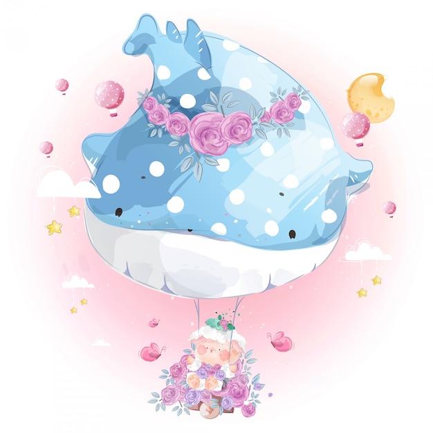 Beau Ballon De Baleine Avec Des Balançoires Amusantes Pour Les Moutons. Vecteur Premium