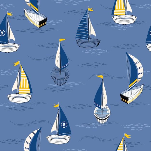 Beau bateau dessiné à la main sur l'océan Vecteur Premium