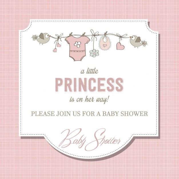 Beau bébé carte fille de douche Vecteur gratuit