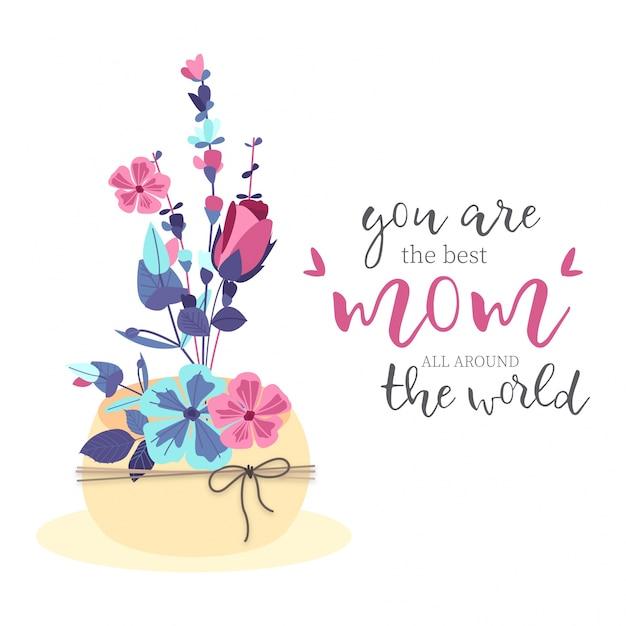 Beau bouquet de fête des mères Vecteur gratuit