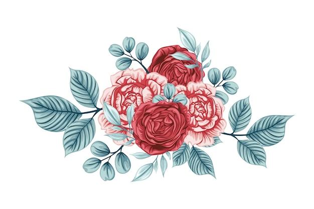 Beau Bouquet De Fleurs Roses Vecteur gratuit