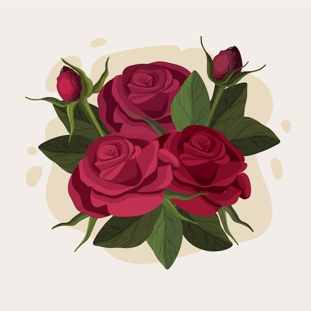 Beau Bouquet Floral De Roses De Bourgogne Vecteur Premium