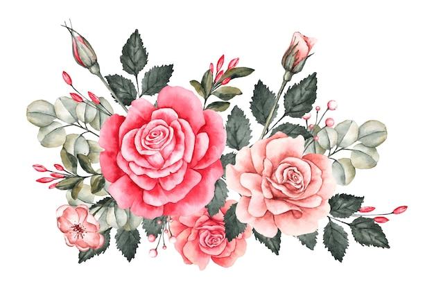 Beau Bouquet Floral Vintage Vecteur gratuit