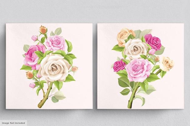 Beau Bouquet Rose Tendre D'illustrations De Roses Dessinées à La Main Vecteur gratuit