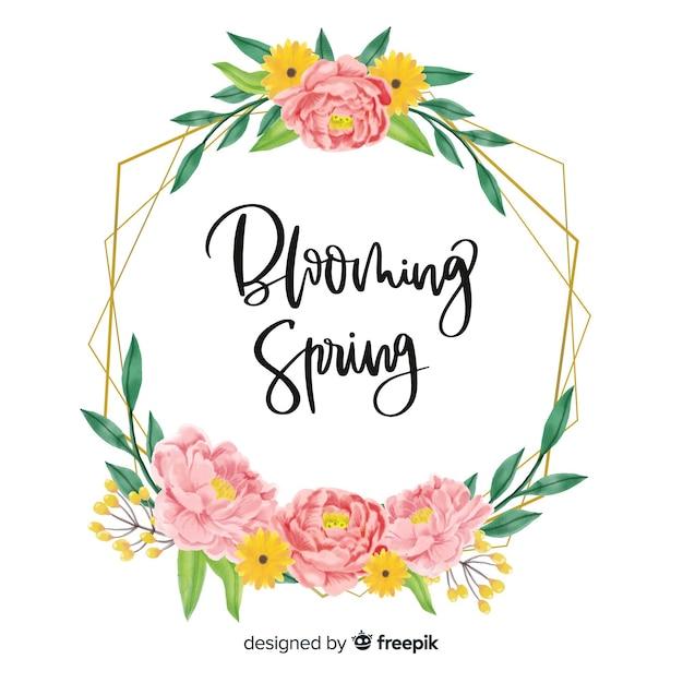 Beau cadre de citation de printemps avec motif floral Vecteur gratuit
