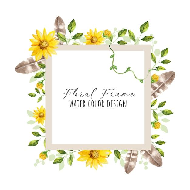 Beau cadre de fleur Vecteur Premium