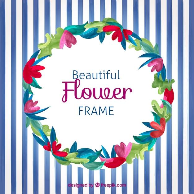 Beau Cadre De Fleurs Vecteur gratuit