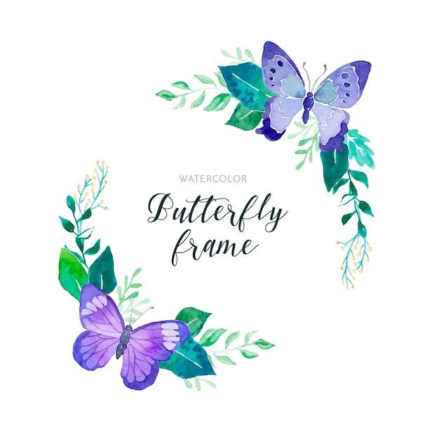 Beau cadre floral aquarelle avec des papillons Vecteur gratuit
