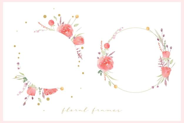 Beau Cadre Floral Avec Aquarelle Rose Rouge Vecteur gratuit