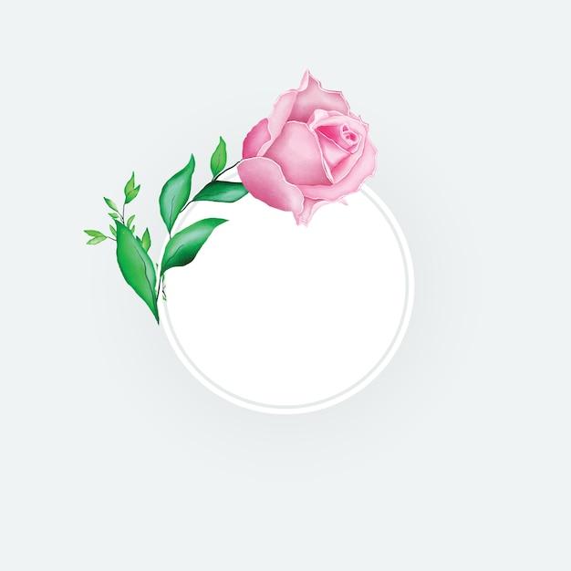 Beau cadre floral aquarelle Vecteur Premium