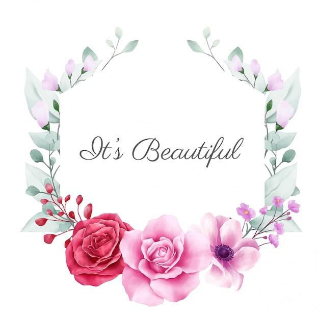 Beau cadre floral avec décoration de fleurs colorées pour la composition de cartes Vecteur Premium