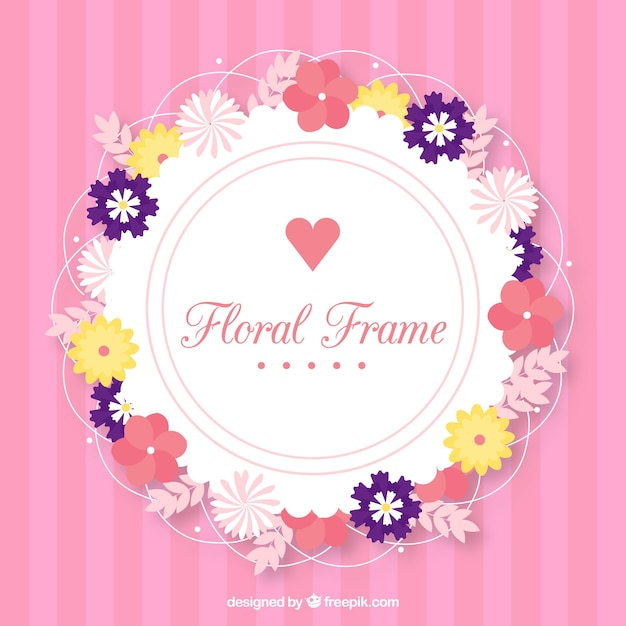 Beau cadre floral avec un design plat Vecteur gratuit