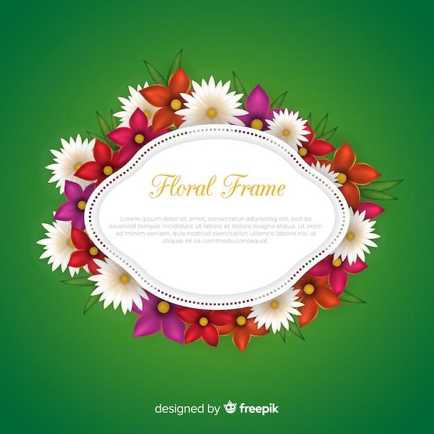 Beau cadre floral avec un design réaliste Vecteur gratuit