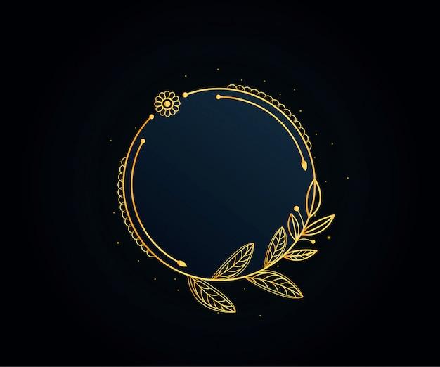 Beau cadre floral doré Vecteur Premium