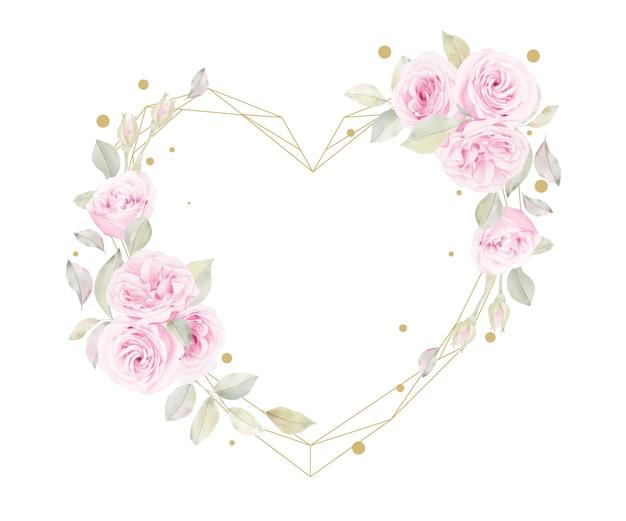 Beau Cadre Floral Avec Fleur De Roses Aquarelle Vecteur gratuit