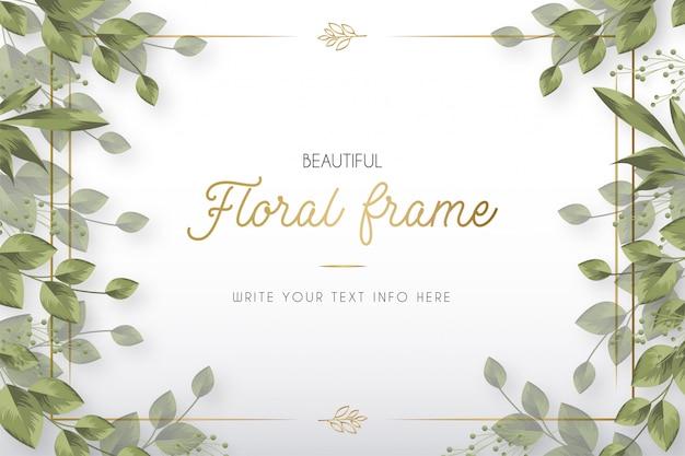 Beau Cadre Floral Moderne Avec Modèle De Feuilles Vecteur gratuit