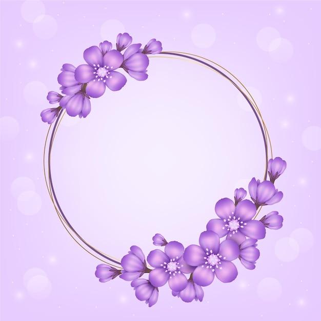 Beau Cadre Floral De Printemps Réaliste Vecteur gratuit