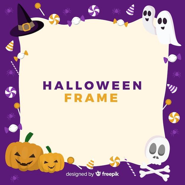 Beau cadre de halloween avec un design plat Vecteur gratuit