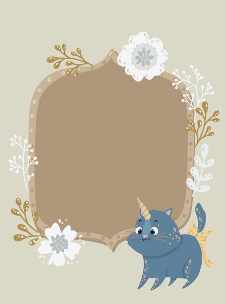 Beau cadre avec une licorne de chat et des fleurs. peut être utilisé pour un cadre photo, une invitation d'anniversaire Vecteur Premium