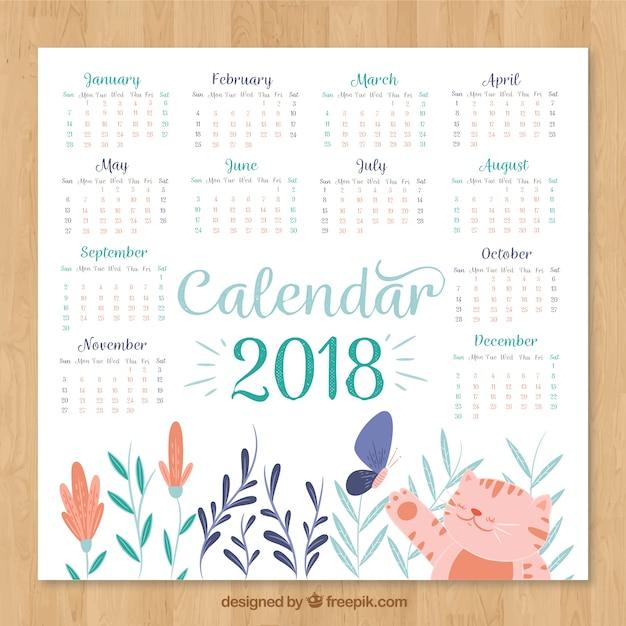 Beau calendrier 2018 Vecteur gratuit