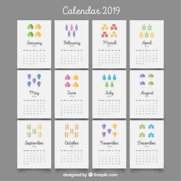 Calendrier 2019 Mois Par Mois A Imprimer.Beau Calendrier 2019 Avec Des Feuilles Colorees
