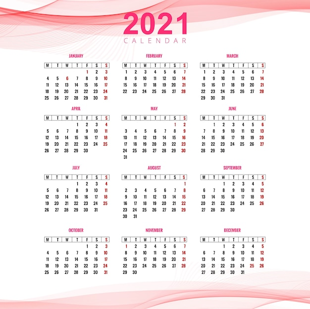 Beau Calendrier D'affaires 2021 Pour Fond De Vague | Vecteur Gratuite
