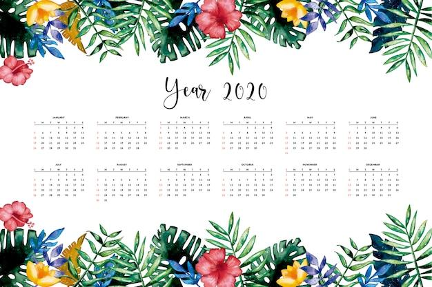 Beau calendrier floral Vecteur gratuit