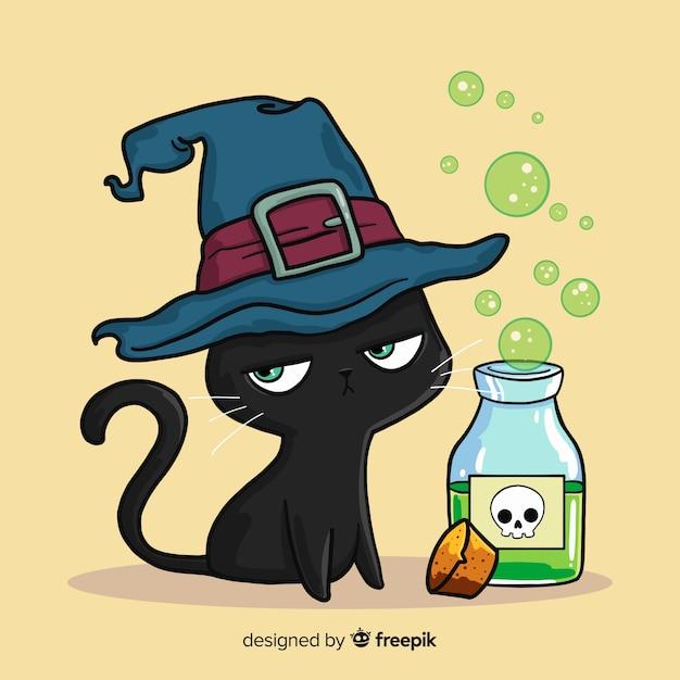 Beau chat d'halloween dessiné à la main Vecteur gratuit