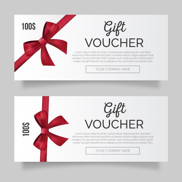 Beau chèque-cadeau avec ruban rouge Vecteur gratuit