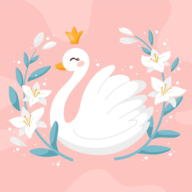 Beau Concept De Princesse Cygne Vecteur gratuit