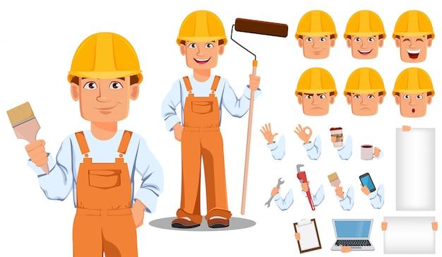 Beau constructeur en uniforme Vecteur Premium