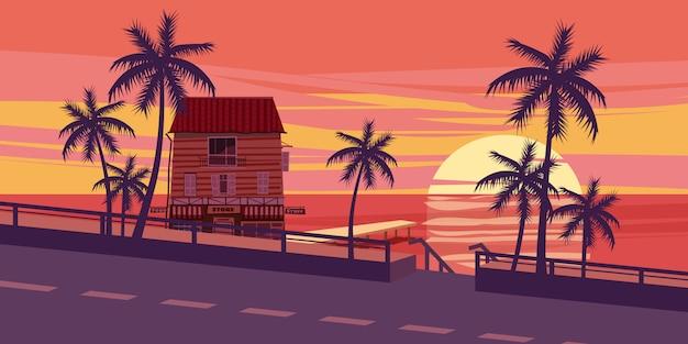 Beau coucher de soleil, mer, route, arbres, maison avec amarre, style cartoon, illustration vectorielle Vecteur Premium