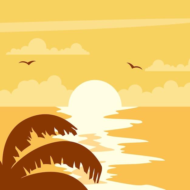 Beau coucher de soleil sur la plage Vecteur Premium